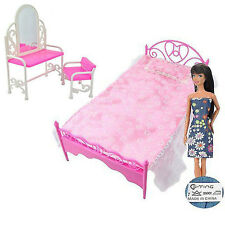 Dressing Bed Dollhouse Barbie Bedroom Dolls US Table & Chair Furniture for