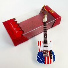 """TELECASTER Electric Guitar - 5"""" USA Flag Ornament w/Gift Box - Music Gifts"""