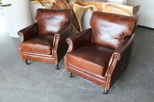 """Set of Two 28"""" Wide club arm chair vintage brown cigar leather great comfort"""