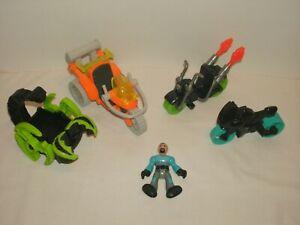 Imaginext Lot of 4 Vehicles and 1 Figure Motocycles 3 Wheeler Scorpion Vehicle