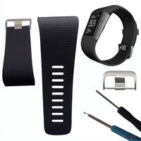 KQ_ BT_ AB_ Silicone Replacement Watch Band Strap with Buckle Tool for Fitbit Su