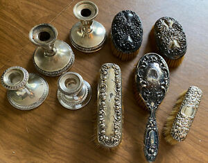 Lot Antique Sterling Brushes Candle Holders Scrap 9 Pieces