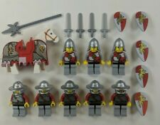 8 Lego Castle Kingdoms Red Lion Knight Minifigures w/ Horse & Barding