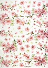 Rice Paper for Decoupage, Scrapbook Sheet, Craft Flowering Peaches