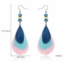 Earring Boho Festival Party Tribal Summer Blue Pink Bead Feather Tassel Fashion