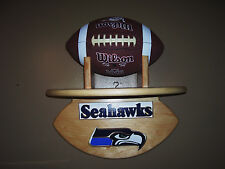 Seahawks wall shelf  for  footballs / helmet or other items handcrafted pinewood