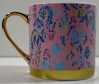 Lilly Pulitzer - Pink Blossom Mug - Pink Mermaid Print - Gold Handle & Band