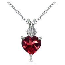 Sterlingsilber Kunstrubin und Diamant Akcent Herz Halskette