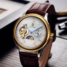 Tevise Mens Business Automatic Mechanical Skeleton Leather Military Wrist Watch