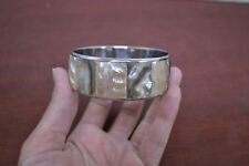 ABALONE AND MOP INLAY SHELL STAINLESS STEEL BANGLE BRACELET