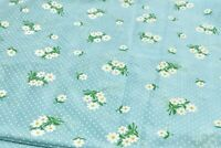 Vintage Fabric Blue Floral Flocked Dotted Swiss Fabric 1 yd 22 in  x 44 in wide