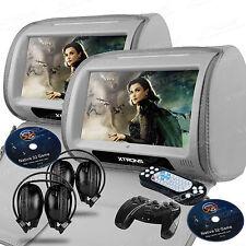 2X Grey 9'' Digital Touch Screen Pillow Headrest Car DVD IR/FM/USB/SD MP3 Player