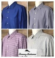 LOT OF 4 Tommy Bahama Mens Long Sleeve Button Front Modern Dress Shirts 16 34/35