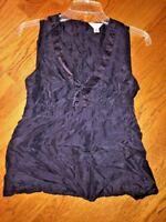 Old Navy Sleeveless Sheer V Neck Blouse Top Dressy Women's Shirt Size Medium