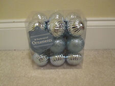 18 shatterproof ornaments plastic blue silver glitter balls new in package
