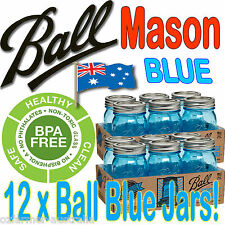 12 X 500ml Pints Blue Ball Mason Heritage Collection Jars Canning Preserving