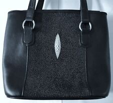 Stingray Handbag, Black Stingray Leather Purse, Genuine Stingray Leather Totebag