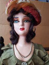 Vintage Antique Art Deco Boudoir Doll, Bed Flapper Lady Doll 30�