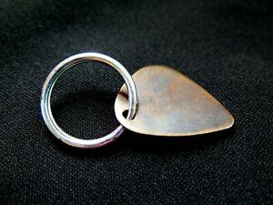 Lost Wax Cast Bronze Oak Guitar Pick Key Chain