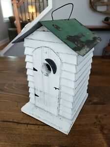 Vintage Bird House Outhouse Distressed Tin Roof