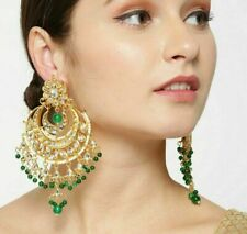 Bollywood Indian Ethnic Gold Plated Kundan Pearl Long Earrings Wedding Jewelry