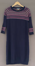 Dickins & Jones Ladies Jumper Dress Navy Pink Fairisle Wool Mix John Lewis UK 14