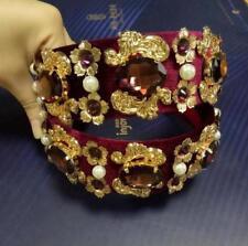Women Wide Headband Citrine Rhinestone Pearl Metal Floral Design Adult Barrette