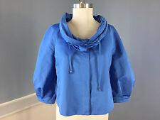 SoCa St John Blue Swing Jacket Cropped S Excellent 3/4 sleeve cowl neck