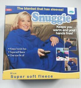 JML Snuggie Blue Fleece Blanket with Sleeves