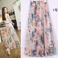 Women Retro Long Maxi Skirt Elastic WaistBand Dress Floral Print Chiffon Pleated