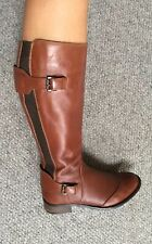 french connection Brown Leather Straps Kned High Riding Boots Elasticated 5