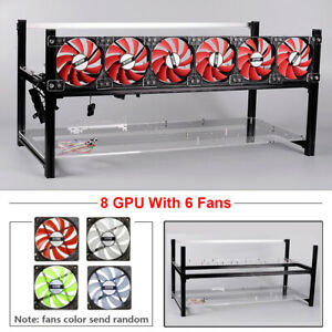 8 GPU Aluminum Open Air Mining Rig Frame Crypto Coin Case ETH BTC With 6 Fans