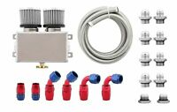 Pro Series 1.2L Engine Oil Catch Can Baffles Filter 3M Hose & Fitting Kit Silver