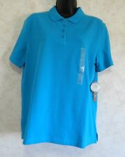 Polo Shirt Kim Rogers Women's Blue Relaxed Fit Perfect Polo Cotton Size Small