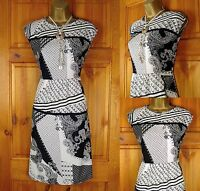NEW WHITE STUFF IVORY BLACK ABSTRACT PAISLEY SUMMER TUNIC DRESS UK SIZE 8 - 16