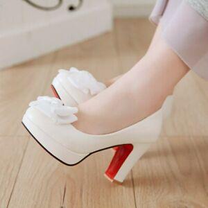 Grace Ladies Bow Tie Slip on Pumps Block Heels Platform Party Prom Shoes UK Size