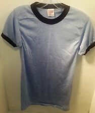 1970's Super Thin Blue Heathered Ringer Blank T-shirt (DEADSTOCK) Size Small