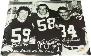 Jack Ham, Jack Lambert, Andy Russell Autographed Steelers 16x20 Photo - JSA COA