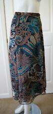Coldwater Creek Black Brown Teal Floral Tiered Hems Mid Calf Skirt SZ S