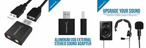 Sabrent Aluminum USB External Stereo Sound Adapter for Windows and Mac. Black