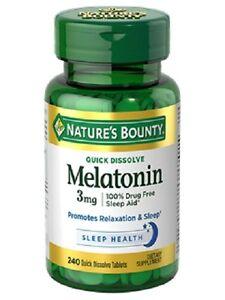 240 Melatonin 3mg Triple Strength Nature's Bounty Supplement Sleep Aid Sleeping