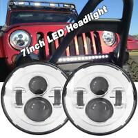 2X 7inch 150W DOT LED Headlight Hi/Low Beam for Jeep Wrangler JK TJ LJ CJ Chrome
