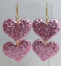 Double Pink Huge Heart Glitter Charms Acrylic Earrings D204 Kitsch Fun 8cm Long