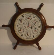 LARGE - MADE FOR ROYAL NAVY 7 COUNTRY Wall Clock - Wooden & Brass (2799)
