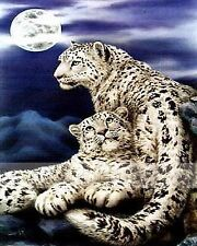 Cross Stitch Style Snow Leopards Diamond Painting Mosaic Kit 40x50cm