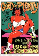 COOP mini Art Devil Girl Poster Roller Derby Good n Plenty Last Chance Saloon