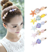 Pearl Sea Shell Hair Clip Barrettes Starfish Hairpins Conch Women Girl's Gift