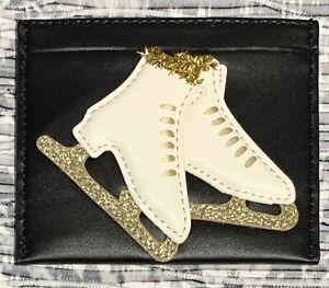 NWT Kate Spade Winter Wonderland Ice Skate Card Wallet Leather Glitter