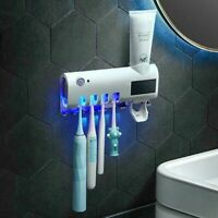 UV Light Sterilizer Toothbrush Holder Cleaner+Automatic Toothpaste Dispenser CN