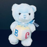 "Aurora Blue Bear Baby Boy Plush ABC Song Block Music 12"" Stuffed Animal Lovey"